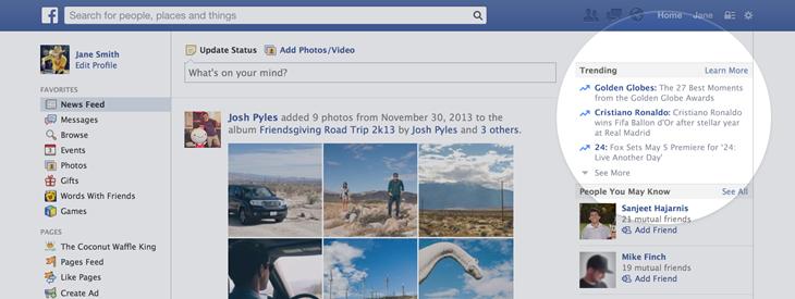 Facebook Trending Topic Feature